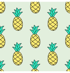 Seamless hand-drawn pattern with pineapple vector