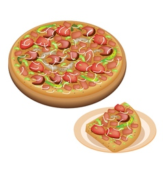 Delicious deluxe pizza and sliced pizza on dish vector