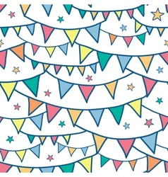 Colorful doodle bunting flags seamless pattern vector