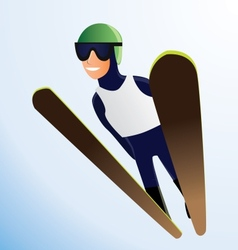 Olympic ski jumper vector