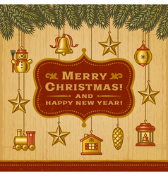 Vintage christmas card with decorations vector