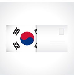 Envelope with flag of south korea card vector
