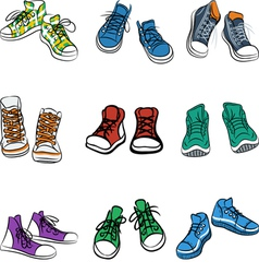 Set of different pairs of sneakers vector