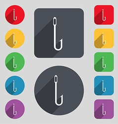 Fishing hook icon sign a set of 12 colored buttons vector