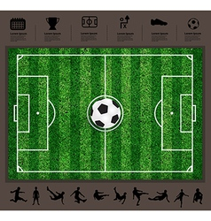 Soccer ball on the field soccer icons set vector
