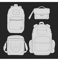 Set of 4 fashionable man bags chalk vector