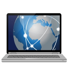 Laptop pc and global network vector