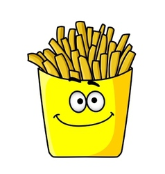 Delicious golden crispy french fries in a packet vector