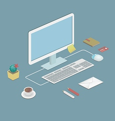 Office workstation vector