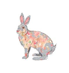Hand drawn watercolor rabbit vector