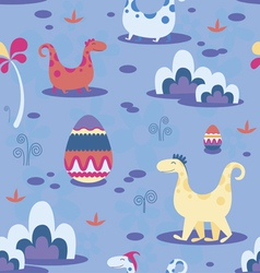Dinosaurs and ornamental eggs seamless print vector