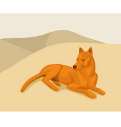 Dog lying on the sand vector