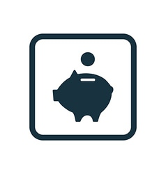 Moneybox piggy icon rounded squares button vector