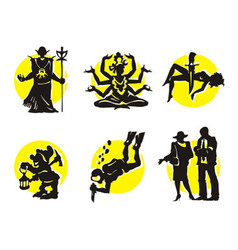 Cinema silhouettes icons shaman vector