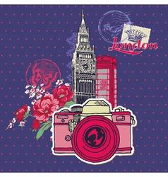 Scrapbook design elements - london vintage card vector