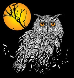 Owl bird head as halloween symbol for mascot or em vector