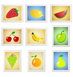 Stamp fruit series vector
