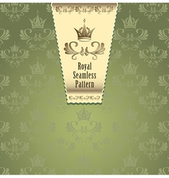 Royal seamless pattern with crown or royal green b vector