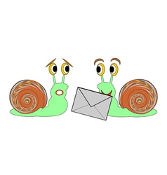Two funny cartoon snails with a letter vector