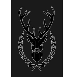 Hunting trophy deer head in laurel wreath black vector