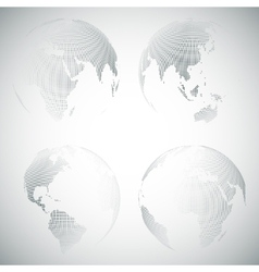 Set of dotted world globes light design vector