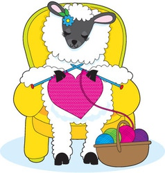 Sheep knitting heart vector