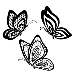 Set of beautiful black and white guipure lace butt vector