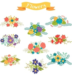 Set of floral bouquets various flowers in retro vector