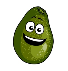 Happy ripe green cartoon avocado pear vector