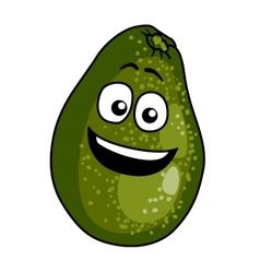 Happy ripe green cartoon avocado pear vector
