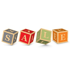 Word sale written with alphabet blocks vector