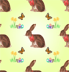 Seamless texture easter hare with butterflies vector