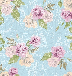 Seamless floral pattern with pastel pink roses vector