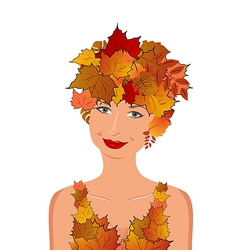 Elegant autumn girl vector