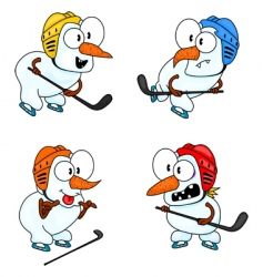 Snowmen play hockey vector