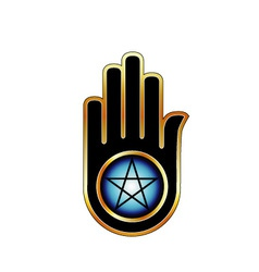 Hand with a pentacle vector