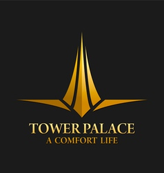 Tower palace real estate logo vector
