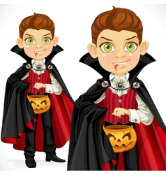 Boy dressed as a vampire with a basket for sweets vector