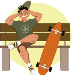 Skater with a longboard vector