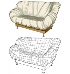 Sofa 3d construction vector
