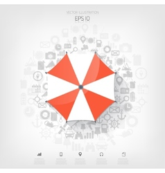 Beach umbrella web flat icon background wit vector