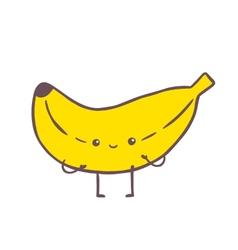 Cute cartoon banana character vector