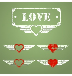Military style love emblems vector