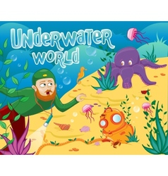 Underwater world with different sea animals vector