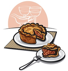 Home baked pork pie vector