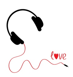 Black headphones with red cord love card vector