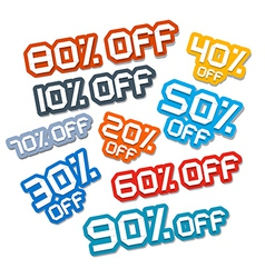 Colorful paper cut discount stickers labels set vector
