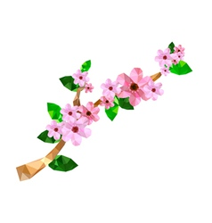 Origami branch with pink cherry blossom vector