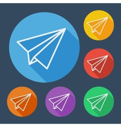 Paper plane flat icons set with long shadow vector