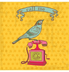 Vintage telephone with a bird vector